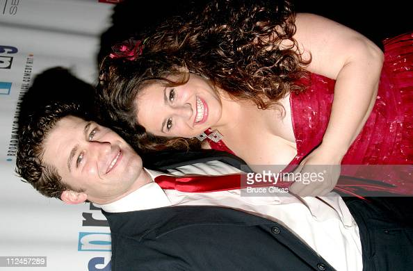 Matthew Morrison and Marissa Jaret Winokur during 'Hairspray' Opening Night Los Angeles Arrivals at Pantages Theater in Hollywood California United...