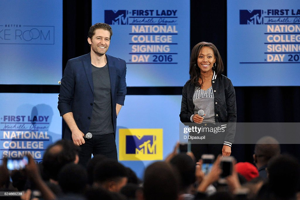 Matthew Morrison (L) and Nicole Beharie attend the 3rd Annual College Signing Day at the Harlem Armory on April 26, 2016 in New York City. The event, co-hosted by MTV, was part of First Lady Michelle Obama's Reach Higher initiative which encourages young people to continue their education past High School.