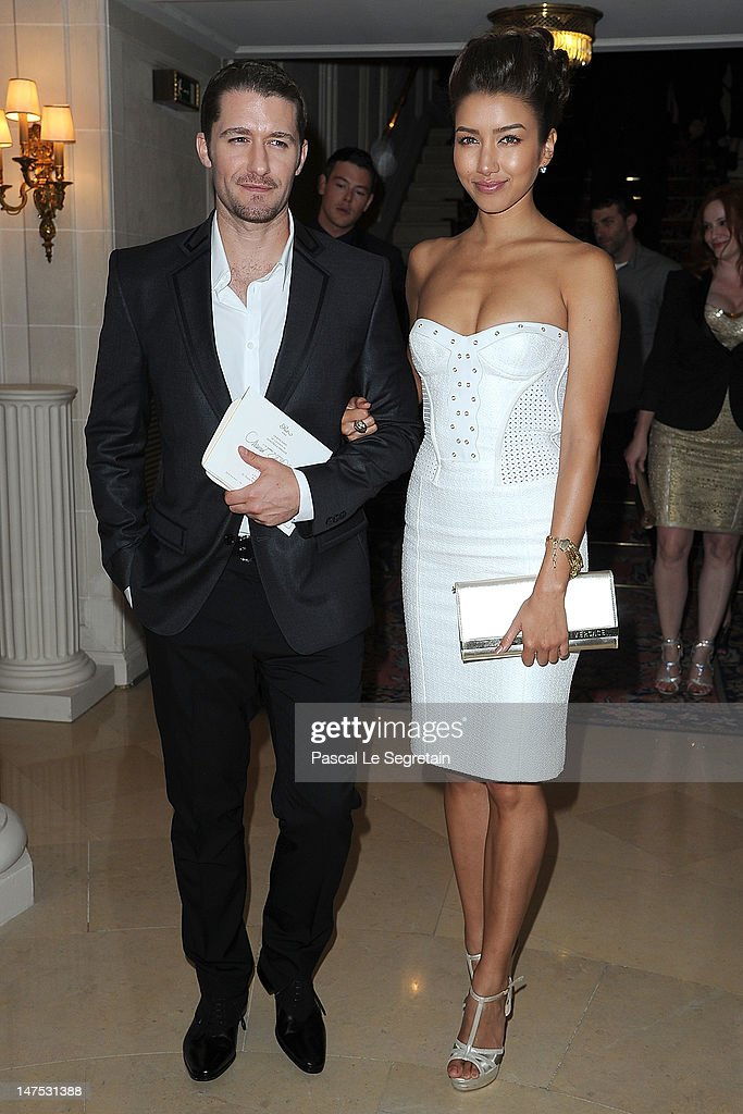 <a gi-track='captionPersonalityLinkClicked' href=/galleries/search?phrase=Matthew+Morrison&family=editorial&specificpeople=171674 ng-click='$event.stopPropagation()'>Matthew Morrison</a> and Renee Puente arrive at the Versace Haute-Couture show as part of Paris Fashion Week Fall / Winter 2012/13 at the Ritz hotel on July 1, 2012 in Paris, France.
