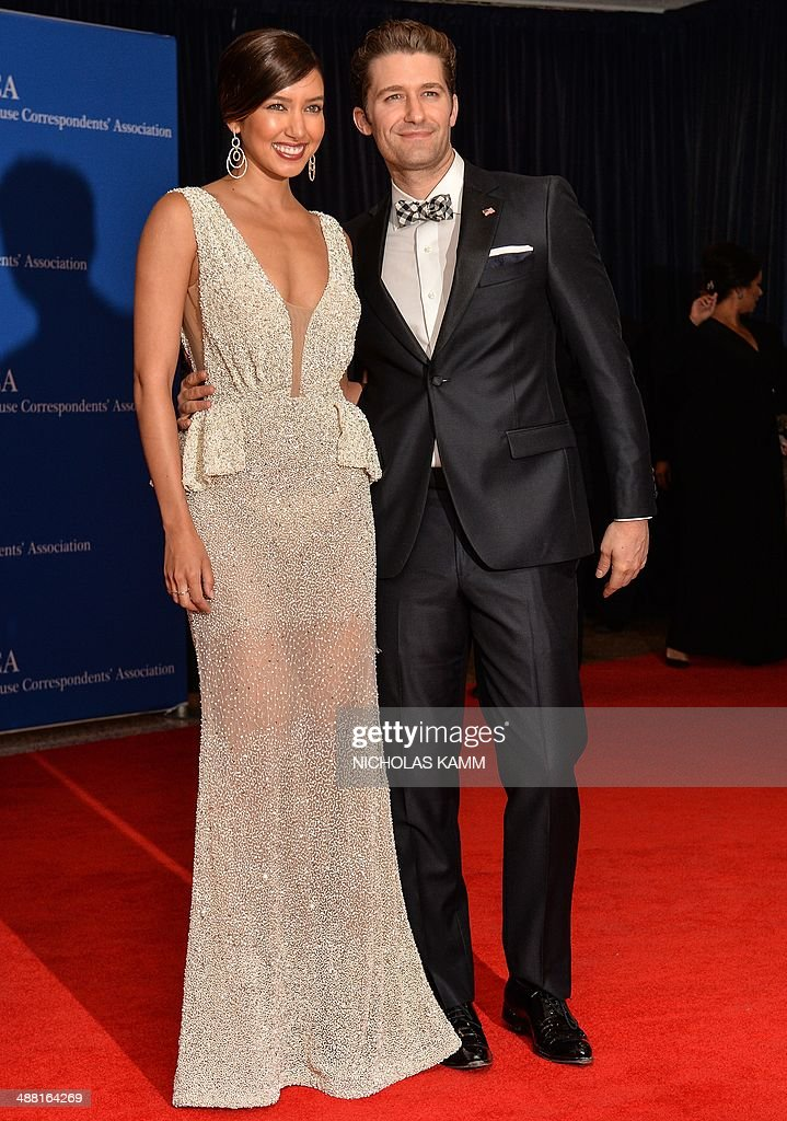 Matthew Morrison and Renee Puente arrive at the White House Correspondents' Association annual dinner in Washington on May 3 2014 AFP PHOTO/Nicholas...