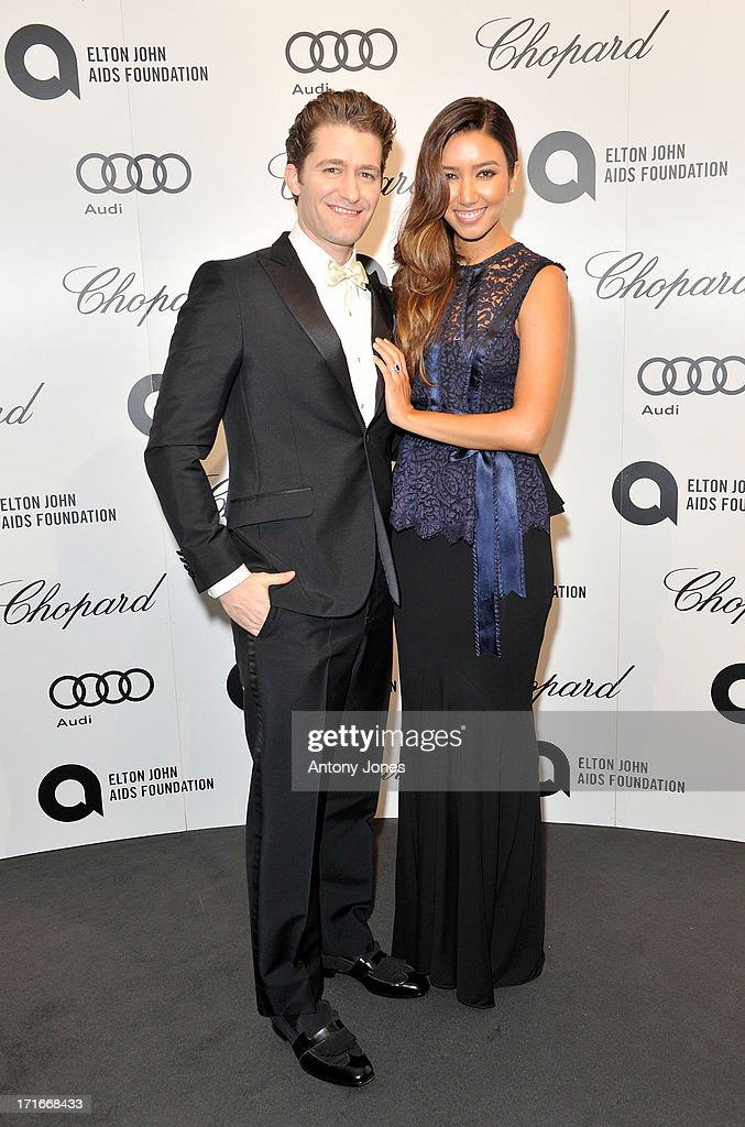 Matthew Morrison (L) and Renee Puente attend the 15th Annual White Tie and Tiara Ball to Benefit Elton John AIDS Foundation in Association with Chopard at Woodside on June 27, 2013 in Windsor, England. No sales to online/digital media worldwide until the 14th of July. No sales before July 14th, 2013 in UK, Spain, Switzerland, Mexico, Dubai, Russia, Serbia, Bulgaria, Turkey, Argentina, Chile, Peru, Ecuador, Colombia, Venezuela, Puerto Rico, Dominican Republic, Greece, Canada, Thailand, Indonesia, Morocco, Malaysia, India, Pakistan, Nigeria. All pictures are for editorial use only and mention of 'Chopard' and 'The Elton John Aids Foundation' are compulsory. No sales ever to Ok, Now, Closer, Reveal, Heat, Look or Grazia magazines in the United Kingdom. No sales ever to any jewellers or watchmakers other than Chopard