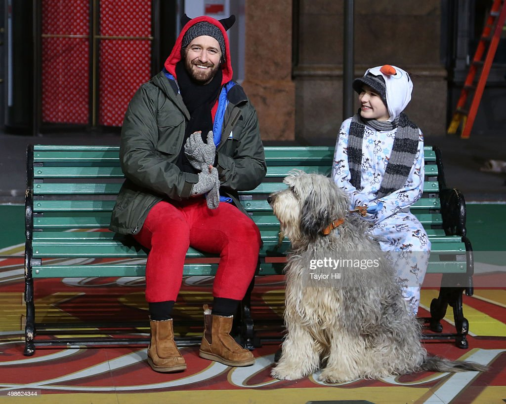 Matthew Morrison and the cast of Finding Neverland rehearse for the Macy's Thanksgiving Day Parade at Herald Square on November 23 2015 in New York...