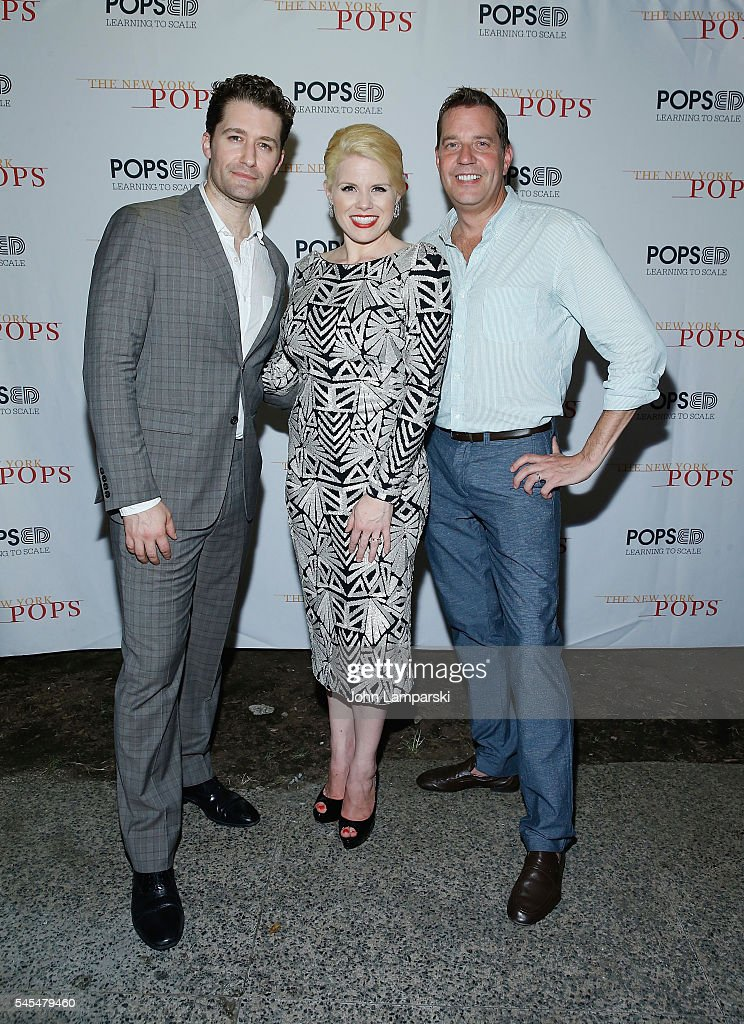 Matthew Morrison Megan Hilty and Conductor Steve Reineke attend the New York Pops at Forest Hills Stadium on July 7 2016 in New York City