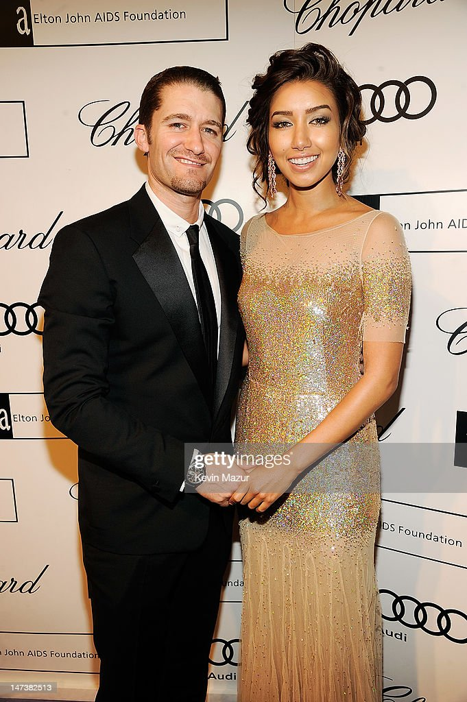 <a gi-track='captionPersonalityLinkClicked' href=/galleries/search?phrase=Matthew+Morrison&family=editorial&specificpeople=171674 ng-click='$event.stopPropagation()'>Matthew Morrison</a>, wearing Chopard and Renee Puente arrive at The 14th Annual White Tie and Tiara Ball to Benefit Elton John AIDS Foundation in Association with Chopard at Woodside on June 28, 2012 in Windsor, England. NO UK SALES BEFORE 17TH JULY 2012. NO HELLO, NOW, CLOSER, REVEAL, HEAT, LOOK OR GRAZIA SALES IN THE UK EVER. NO ITALY SALES BEFORE 4TH JULY 2012, NO SPAIN SALES BEFORE 7TH JULY 2012, NO MEXICO SALES BEFORE 1ST AUGUST 2012. All pictures are for editorial use only and mention of 'Chopard' and 'The Elton John Aids Foundation' are compulsory. No sales ever to any jewellers other than Chopard