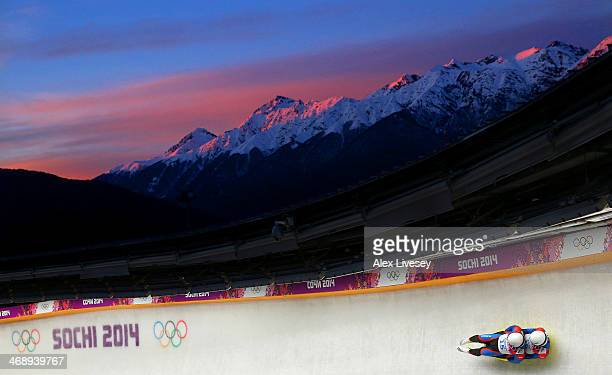 Matthew Mortensen and Preston Griffall of the United States make a run during the Men's Luge Doubles on Day 5 of the Sochi 2014 Winter Olympics at...