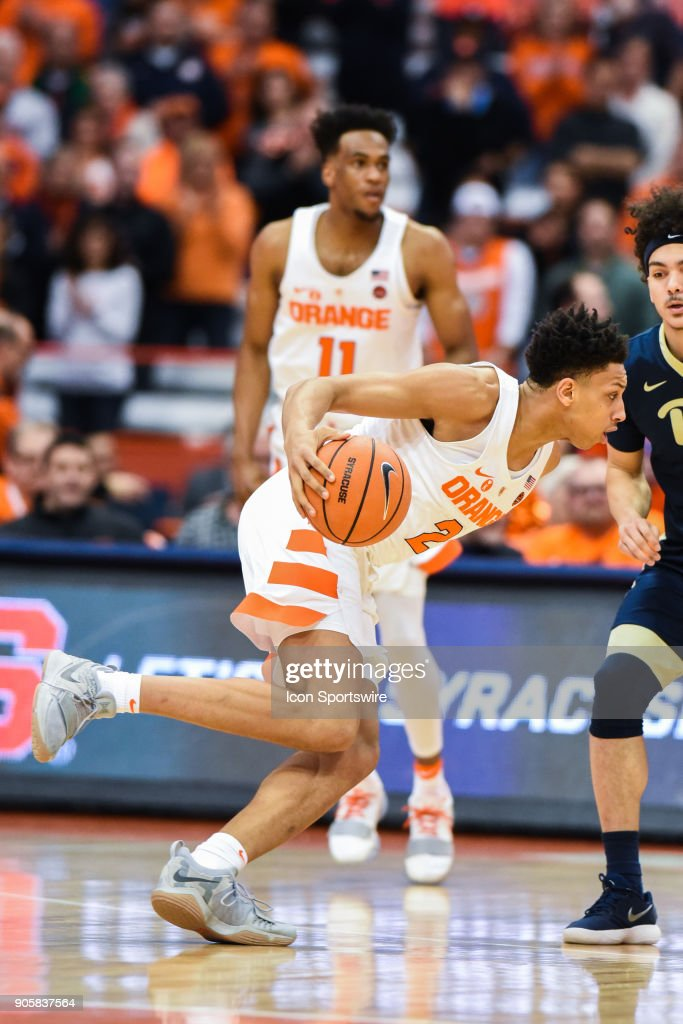 Matthew Moyer #2 of the Syracuse Orange drives to the basket during the first half of play between the Syracuse Orange and the Pittsburgh Panthers on January 16th, 2018 at the Carrier Dome in Syracuse, NY.