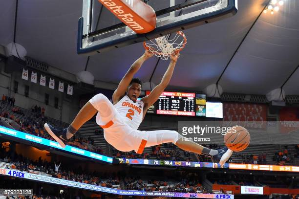 Matthew Moyer of the Syracuse Orange dunks the ball against the Toledo Rockets during the second half at the Carrier Dome on November 22 2017 in...