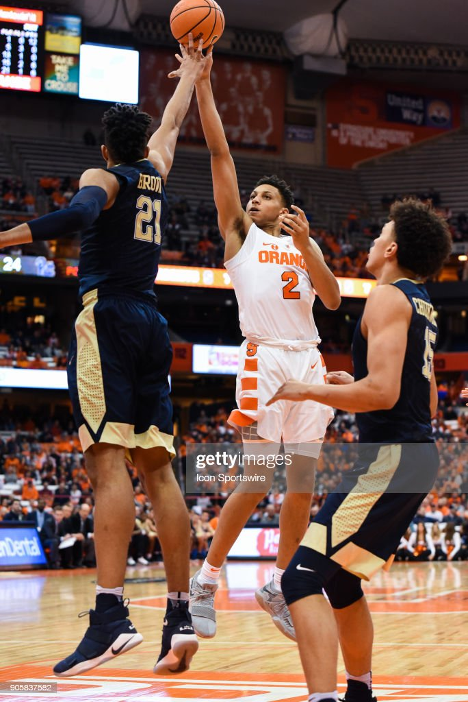 Matthew Moyer #2 of the Syracuse Orange shoots the ball defended by Terrell Brown #21 of the Pittsburgh Panthers during the second half of play between the Syracuse Orange and the Pittsburgh Panthers on January 16th, 2018 at the Carrier Dome in Syracuse, NY.