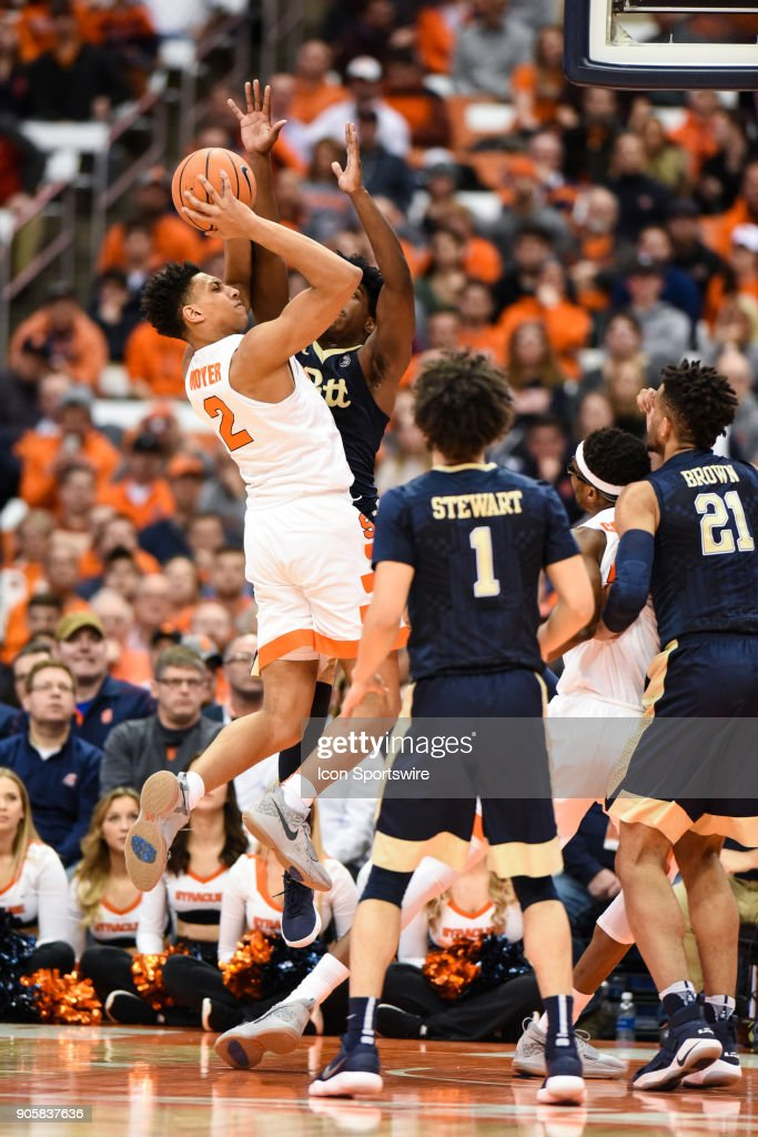 Matthew Moyer #2 of the Syracuse Orange shoots the ball drawing a foul during the first half of play between the Syracuse Orange and the Pittsburgh Panthers on January 16th, 2018 at the Carrier Dome in Syracuse, NY.
