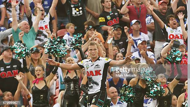 Matthew Moylan of the Panthers celebrates kicking a conversion to win the match during the round three NRL match between the Penrith Panthers and the...
