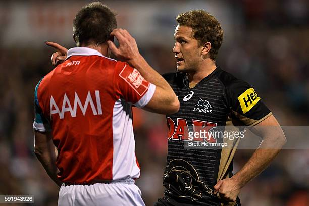 Matthew Moylan of the Panthers speaks to referree during the round 24 NRL match between the Penrith Panthers and the Wests Tigers at Pepper Stadium...