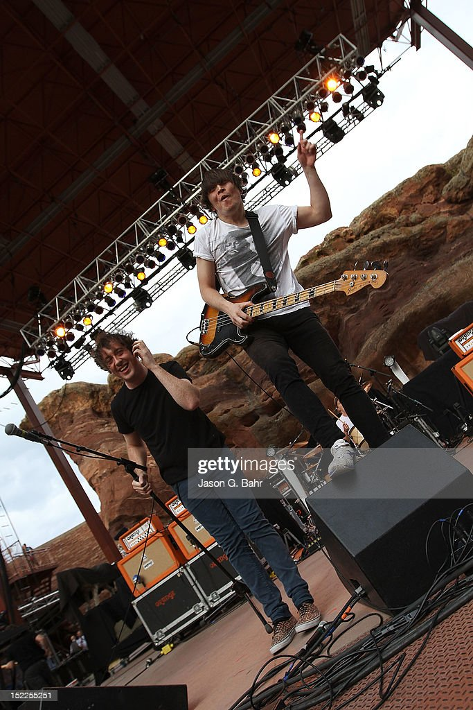 Matthew Murphey and Tord Overland-Knudsen of The Wombats perform at Red Rocks Amphitheatre on September 16, 2012 in Morrison, Colorado.