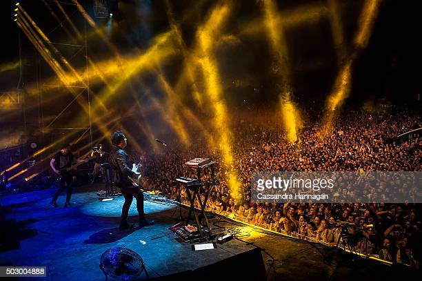Matthew Murphy of the band The Wombats performs for New Years Eve at Falls Festival on December 31 2015 in Byron Bay Australia