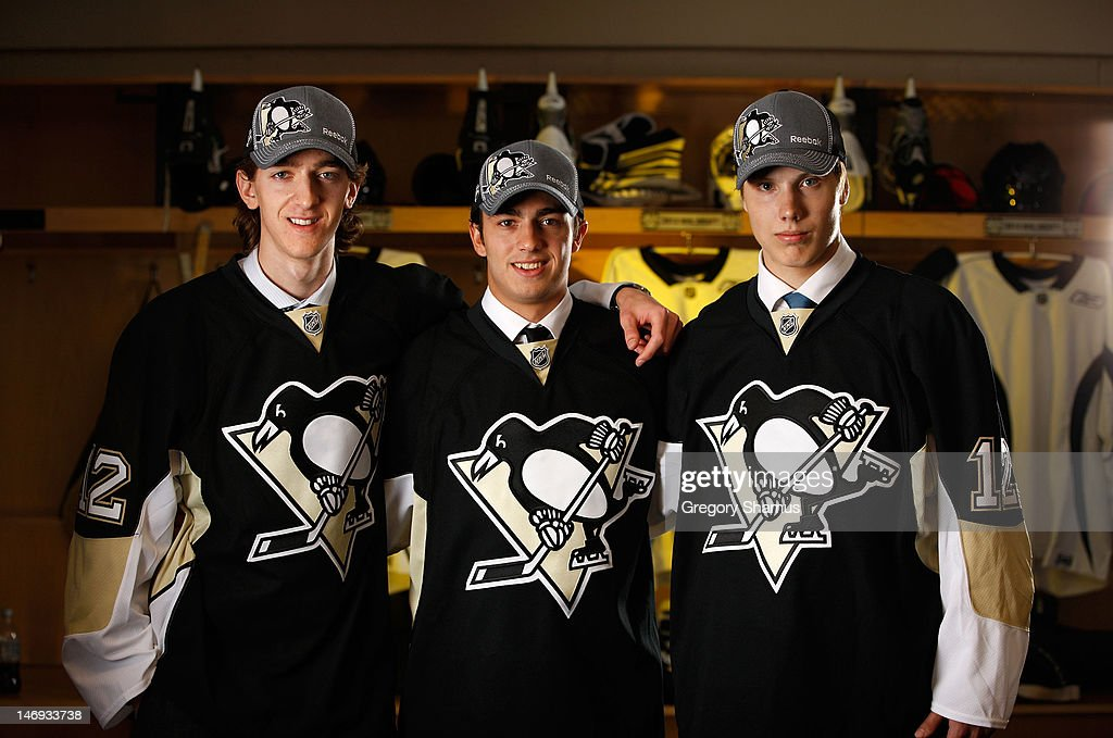 Matthew Murray, 83rd overall pick, Matia Marcantuoni, 92nd overall pick, Oskar Sundqvist, 81st overall pick, of the Pittsburgh Penguins pose for a portrait during the 2012 NHL Entry Draft at Consol Energy Center on June 23, 2012 in Pittsburgh, Pennsylvania.