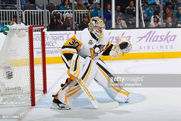 Matthew Murray of the Pittsburgh Penguins defends the net against the San Jose Sharks at SAP Center on November 5 2016 in San Jose California