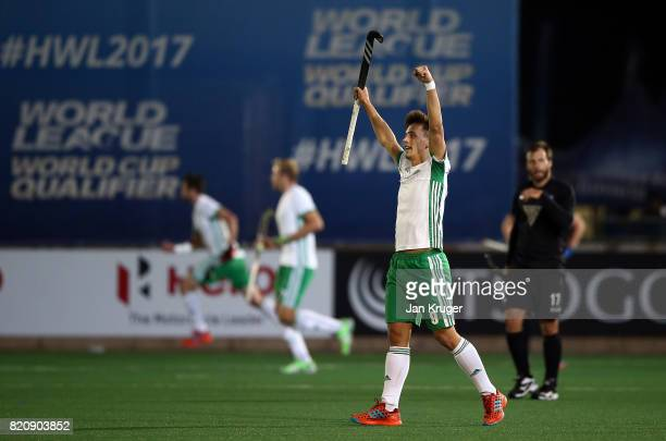 Matthew Nelson of Ireland celebrates the win at the fnal whistle during day 8 of the FIH Hockey World League Men's Semi Finals 5th/ 6th place match...