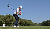 Matthew Nixon of England hits his teeshot on the 18th hole during the second round of the Trophee Hassan II Golf at Golf du Palais Royal on March 27...