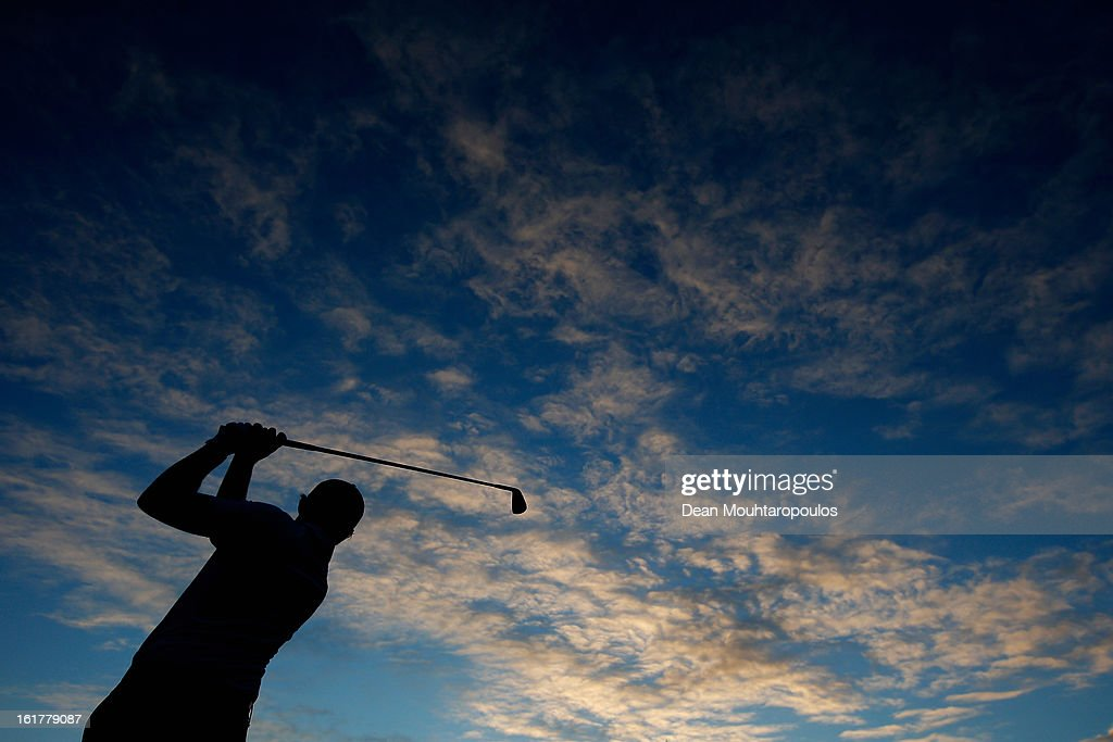 Matthew Nixon of England hits practice balls on the driving range prior to Day Three of the Africa Open at East London Golf Club on February 16, 2013 in East London, South Africa.
