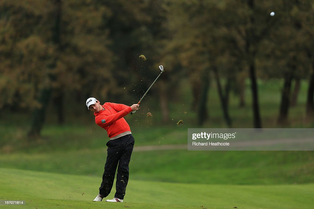 Matthew Nixon of England in action Maduring the fifth round of the European Tour Qualifying School Finals at PGA Catalunya Resort on November 28, 2012 in Girona, Spain.