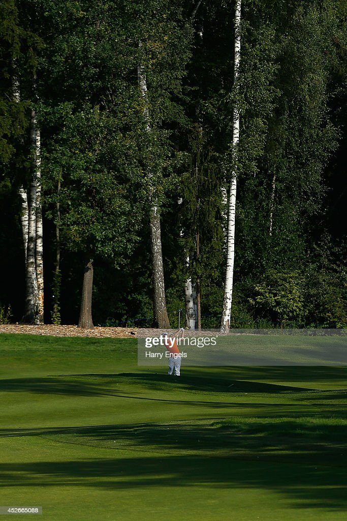 Matthew Nixon of England plays off the fairway at the fifteenth on day two of the M2M Russian Open at Tseleevo Golf & Polo Club on July 25, 2014 in Moscow, Russia.