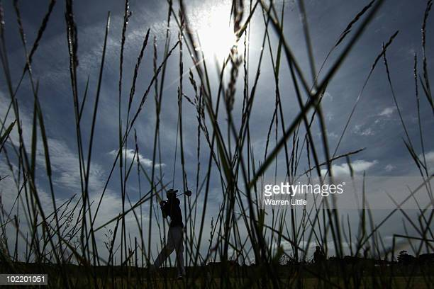 Matthew Nixon of England tees off on the 14th hole during his Quarter Final match against Matthew Nixon of England for The Amateur Championship at...
