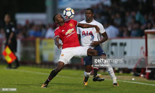 Matthew Olosunde of Manchester United and Shilow Tracey of Tottenham during the Premier League 2 match between Tottenham Hotspur and Manchester...