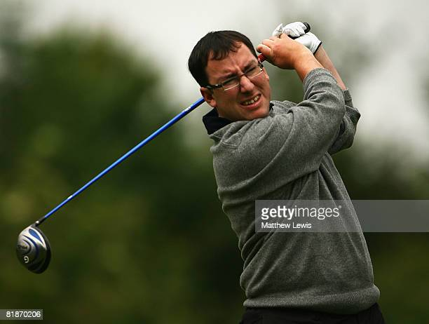 Matthew Parry tees off from the 1st tee during the Powerade PGA Assistant's Championship North Region Qualifier at Knaresborough Golf Club on July 7...