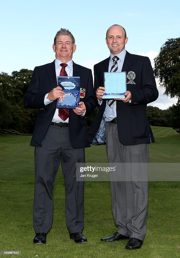 Matthew Parsley(R) and Donald Ferguson of Holywell GC poses after winning the Golfplan Insurance PGA Pro-Captain Challenge - North (West) Regional Qualifier at Dunham Forest Golf and Country Club on August 22, 2014 in Altrincham, England.