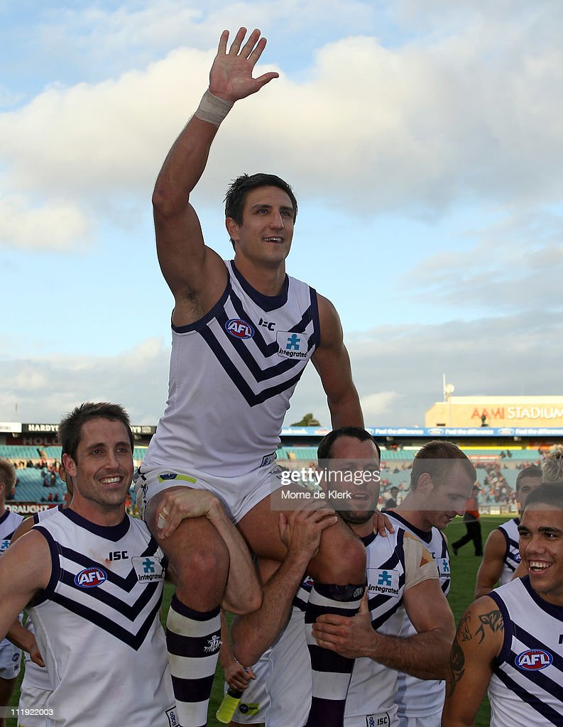 <a gi-track='captionPersonalityLinkClicked' href=/galleries/search?phrase=Matthew+Pavlich&family=editorial&specificpeople=208649 ng-click='$event.stopPropagation()'>Matthew Pavlich</a> is chaired off the ground after the round three AFL match between the Adelaide Crows and the Fremantle Dockers at AAMI Stadium on April 9, 2011 in Adelaide, Australia.
