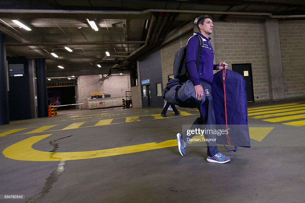 <a gi-track='captionPersonalityLinkClicked' href=/galleries/search?phrase=Matthew+Pavlich&family=editorial&specificpeople=208649 ng-click='$event.stopPropagation()'>Matthew Pavlich</a> of the Dockers arrives before the round 10 AFL match between the St Kilda Saints and the Fremantle Dockers at Etihad Stadium on May 28, 2016 in Melbourne, Australia.