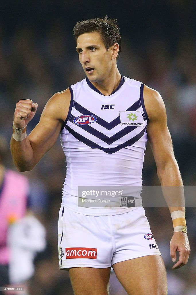 Matthew Pavlich of the Dockers celebrates a goal during the round one AFL match between the Collingwood Magpies and the Fremantle Dockers at Etihad Stadium on March 14, 2014 in Melbourne, Australia.
