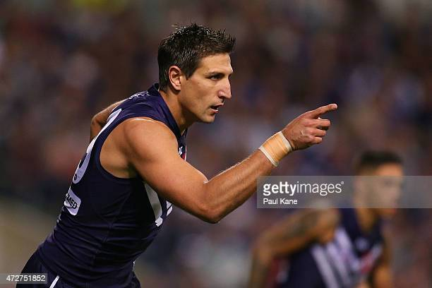 Matthew Pavlich of the Dockers celebrates after a goal during the round six AFL match between the Fremantle Dockers and the Essendon Bombers at...