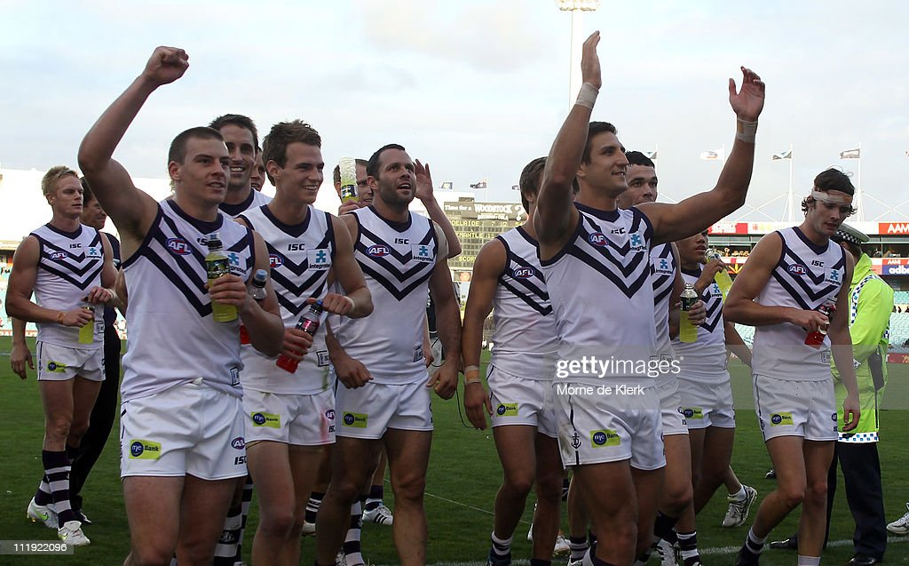 <a gi-track='captionPersonalityLinkClicked' href=/galleries/search?phrase=Matthew+Pavlich&family=editorial&specificpeople=208649 ng-click='$event.stopPropagation()'>Matthew Pavlich</a> of the Dockers leads the team off the field after the round three AFL match between the Adelaide Crows and the Fremantle Dockers at AAMI Stadium on April 9, 2011 in Adelaide, Australia.