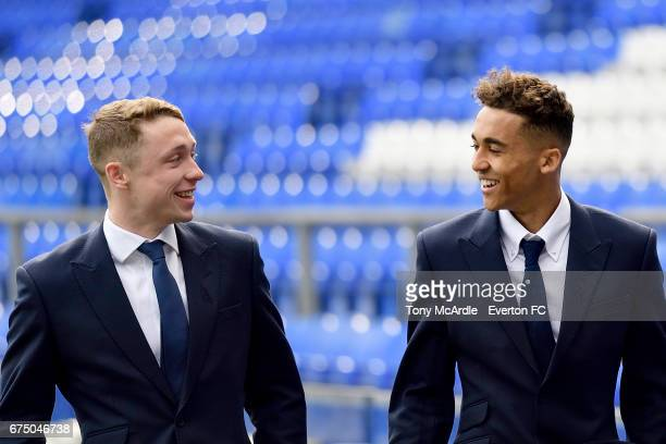 Matthew Pennington and Dominic CalvertLewin of Everton arrive before the Premier League match between Everton and Chelsea at the Goodison Park on...