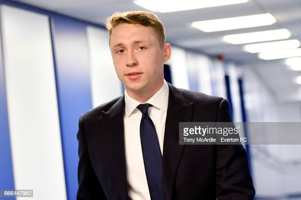 Matthew Pennington arrives before the Premier League match between Everton and Leicester City at Goodison Park on April 9 2017 in Liverpool England