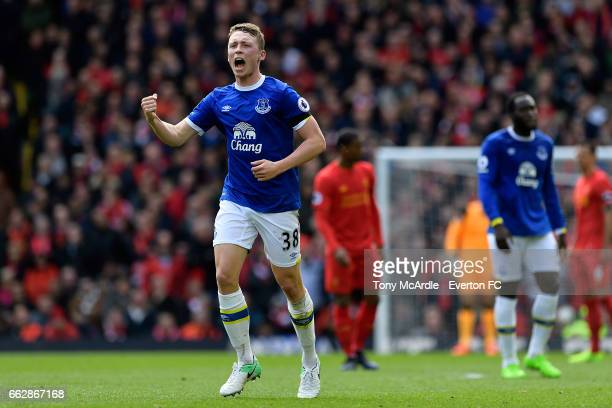 Matthew Pennington celebrates his goal during the Premier League match between Liverpool and Everton at Anfield on April 1 2017 in Liverpool England