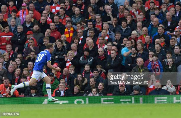 Matthew Pennington celebrates his goal in front of the Top during the Premier League match between Liverpool and Everton at Anfield on April 1 2017...