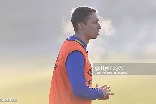 Matthew Pennington during the Everton FC training session at Finch Farm on December 28 2016 in Halewood England