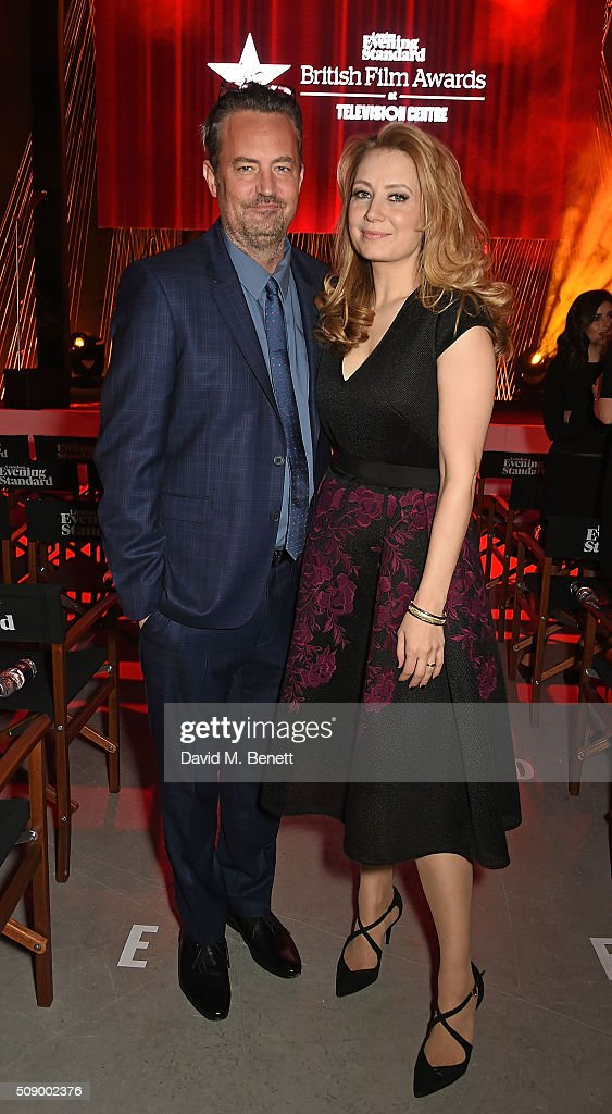 Matthew Perry and Jennifer Mudge attend a champagne reception at the London Evening Standard British Film Awards at Television Centre on February 7...