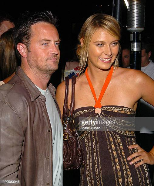 Matthew Perry and Maria Sharapova during Andy Roddick Hosts 13th Annual ESPY Awards PreParty Arrivals at Playboy Mansion in Beverly Hills California...