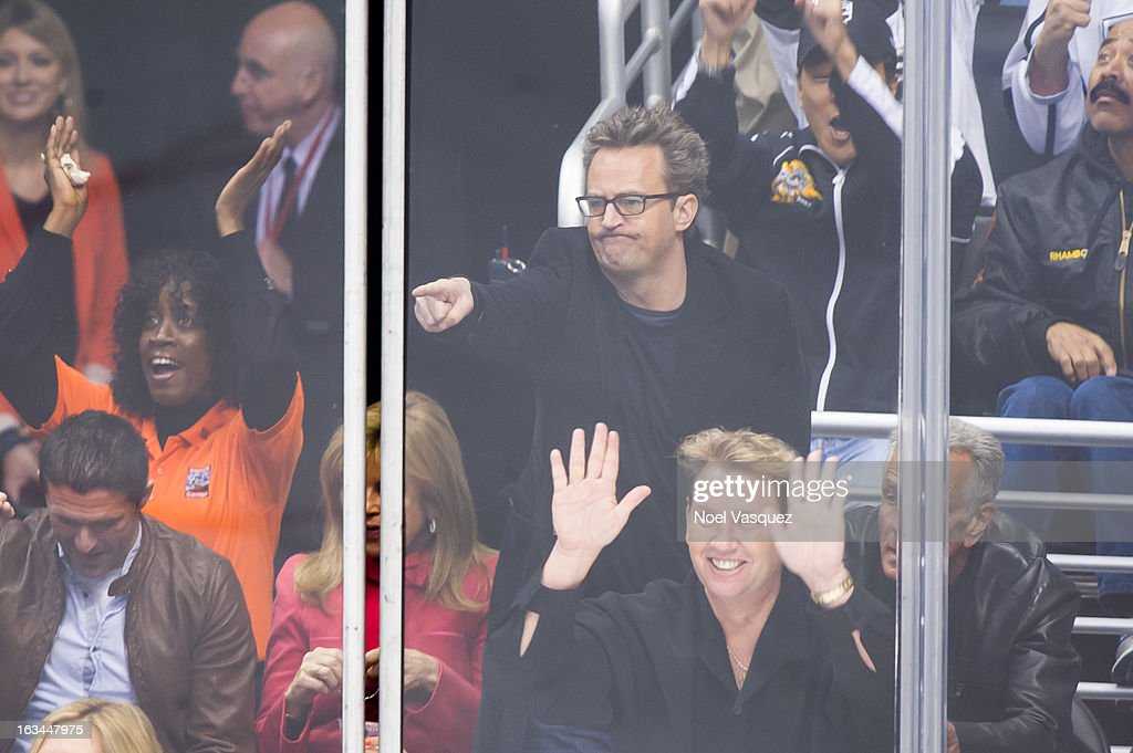 <a gi-track='captionPersonalityLinkClicked' href=/galleries/search?phrase=Matthew+Perry&family=editorial&specificpeople=202851 ng-click='$event.stopPropagation()'>Matthew Perry</a> attends a hockey game between the Calgary Flames and Los Angeles Kings at Staples Center on March 9, 2013 in Los Angeles, California.