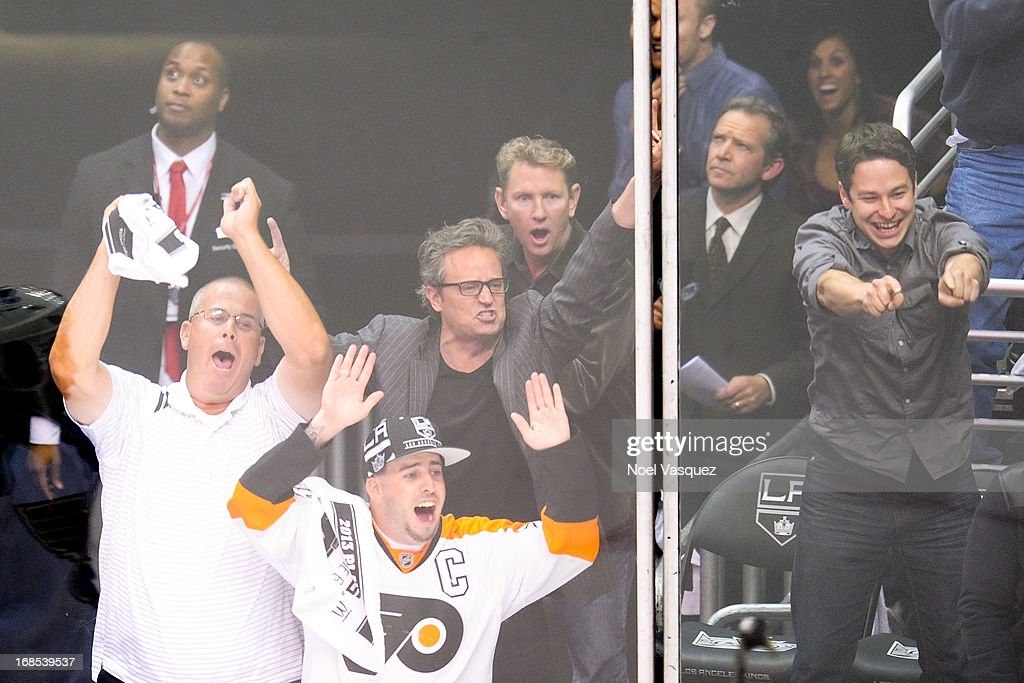 Matthew Perry attends a NHL playoff game between the St. Louis Blues and the Los Angeles Kings at Staples Center on May 10, 2013 in Los Angeles, California.