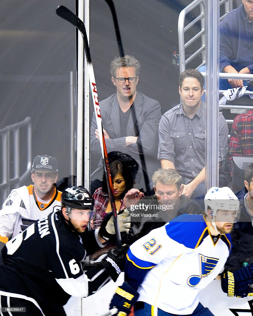 <a gi-track='captionPersonalityLinkClicked' href=/galleries/search?phrase=Matthew+Perry&family=editorial&specificpeople=202851 ng-click='$event.stopPropagation()'>Matthew Perry</a> attends a NHL playoff game between the St. Louis Blues and the Los Angeles Kings at Staples Center on May 10, 2013 in Los Angeles, California.