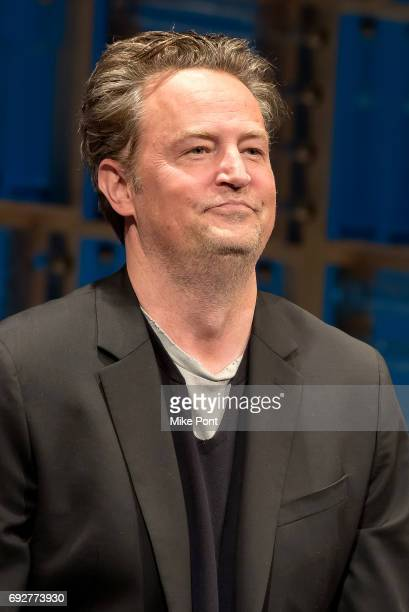 Matthew Perry is seen on stage during the opening night curtain call of 'The End Of Longing' at Lucille Lortel Theatre on June 5 2017 in New York City