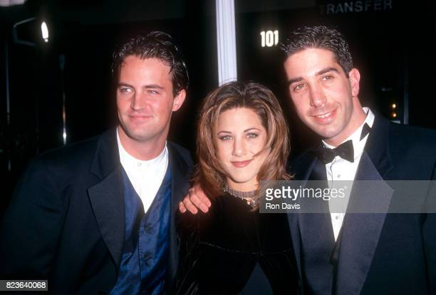 Matthew Perry Jennifer Aniston and David Schwimmer of the TV show Friend's attend the 21st Annual People's Choice Awards on March 5 1995 at the...