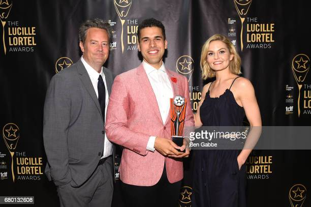 Matthew Perry Joel Perez and Jennifer Morrison pose backstage at 32nd Annual Lucille Lortel Awards at NYU Skirball Center on May 7 2017 in New York...