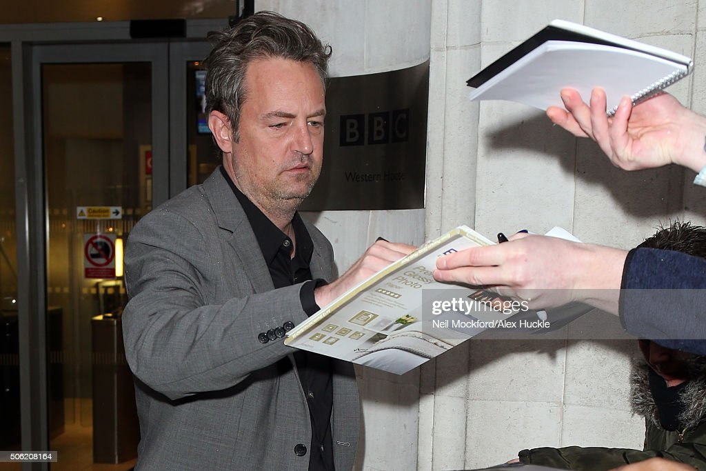 Matthew Perry seen at BBC Radio 2 on January 22 2016 in London England