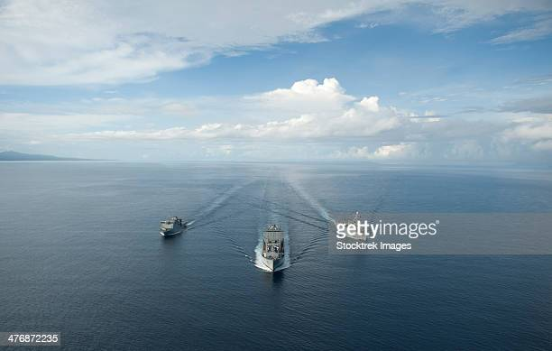 USNS Matthew Perry, USS Pearl Harbor and HMNZS Canterbury transit the Vella Gulf.