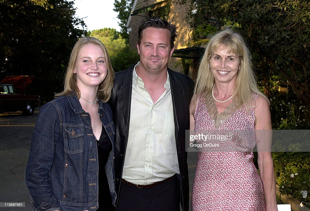 Matthew Perry with mom Suzanne sister Emily during LA Kings the Canadian Community Pay Tribute to Garnet 'Ace' Bailey at The Canadian Residence in...