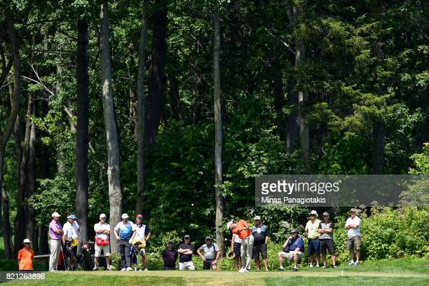 Matthew Picanso hits a tee from the third hole during the final round of the Mackenzie Investments Open at Club de Golf Les Quatre Domaines on July...